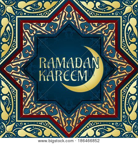Ornamental arabic moon. Golden glitter festive background. Bokeh lights. Greeting card, invitation for muslim community holy month Ramadan Kareem. Vector illustration.