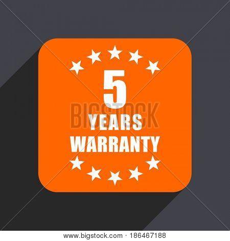 Warranty guarantee 5 year orange flat design web icon isolated on gray background