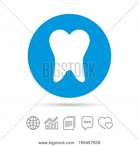 Tooth sign icon. Dental care symbol. Copy files, chat speech bubble and chart web icons. Vector