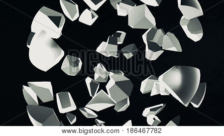 Abstract background with scattered 3d sphere. 3d rendering