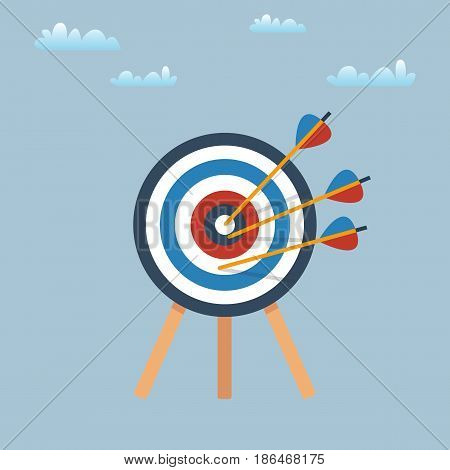 Target with arrows, standing on a tripod on blue background. Vector design