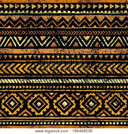 Golden Seamless Print. Ethnic And Tribal Motifs. Yellow Geometric Elements On A Black Background. Gr