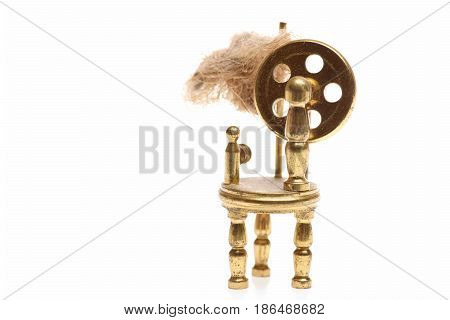Antique Bobbin Or Weaving Loom Isolated On White