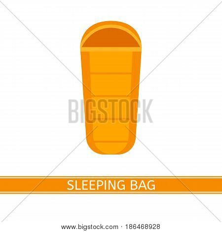 Vector illustration of sleeping bag. Camping icon in flat style isolated on white background.