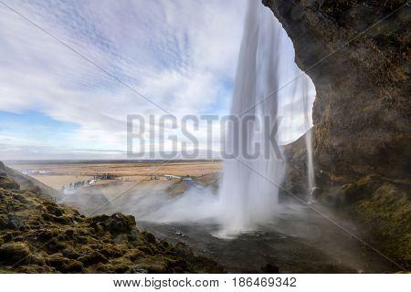 Seljalandsfoss waterfall on the South of Iceland