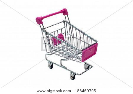 miniature pink trolley supermarket isolated on white background