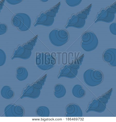 Seamless blue pattern with seashells. Line work.