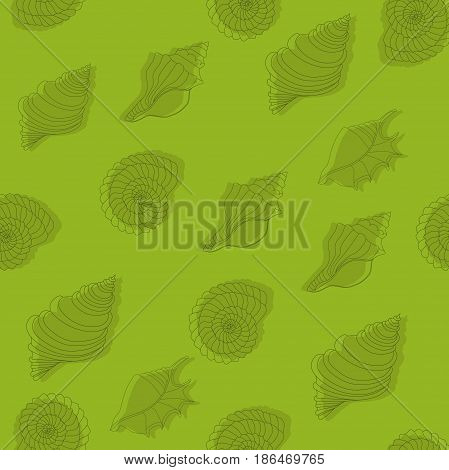 Seamless green pattern with seashells. Line work.