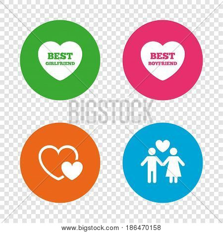 Valentine day love icons. Best girlfriend and boyfriend symbol. Couple lovers sign. Round buttons on transparent background. Vector