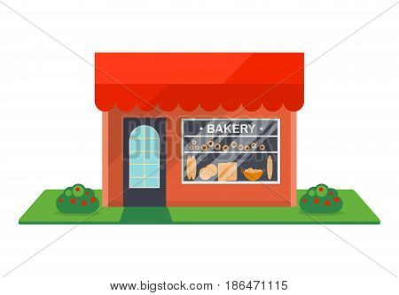 Bakery shop facade isolated on white background vector illustration. Retail building with showcase, city architecture element in flat design.