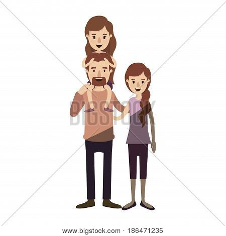 light color shading caricature family with mother and father with moustache and girl on his back vector illustration