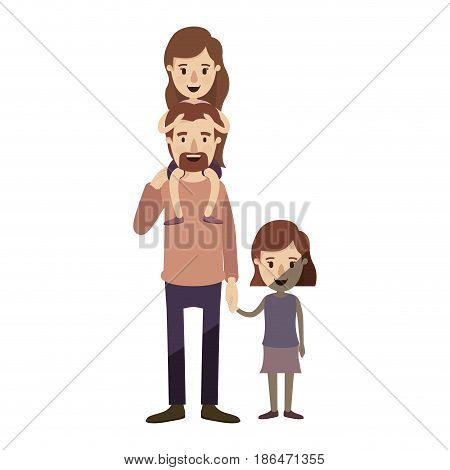 light color shading caricature dad with daugther on his back and girl taken hands vector illustration