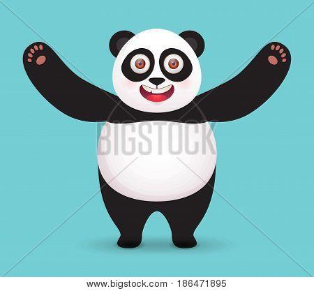 Happy Giant Panda hugs. Vector character on blue background.