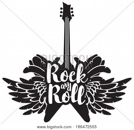 vector illustration with an electric guitar wings and feathers with inscription rock and roll
