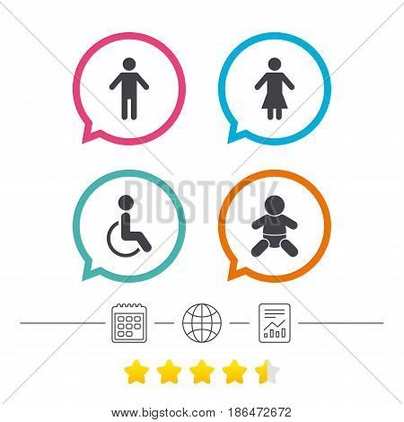 WC toilet icons. Human male or female signs. Baby infant or toddler. Disabled handicapped invalid symbol. Calendar, internet globe and report linear icons. Star vote ranking. Vector