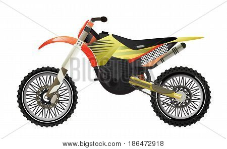Rally motorbike icon isolated vector illustration. Extreme moto sport competition, road trophy race championship, freestyle motocross, speed motorcycling.
