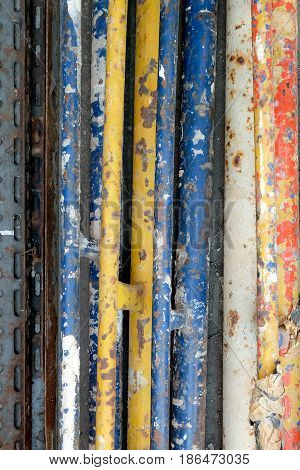 old colorful Steel bars abstract texture background