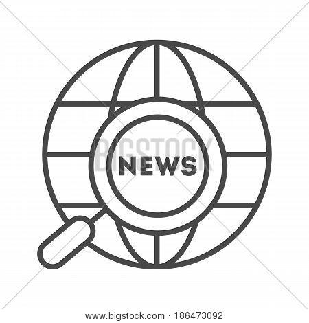 World news icon vector illustration isolated on white background. Global social media, network communication, mass media linear pictogram.