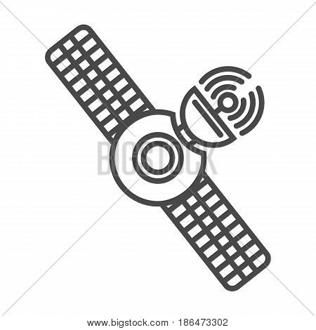 Radio broadcasting satellite icon vector illustration isolated on white background. Global social media, network communication, mass media linear pictogram.