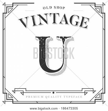 Alphabet Vector Font. Letter with Classy Stylish Frame