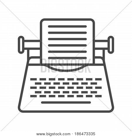 Vintage typewriter icon vector illustration isolated on white background. Global printing press, network communication, mass media linear pictogram.
