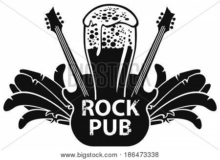 beer for lovers of rock music with a glass and electric guitar. Vector banner for rock pub