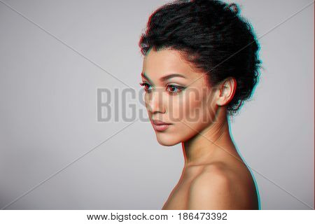 Beauty closeup profile portrait of beautiful mixed race caucasian - african american woman, 3d anaglyph effect