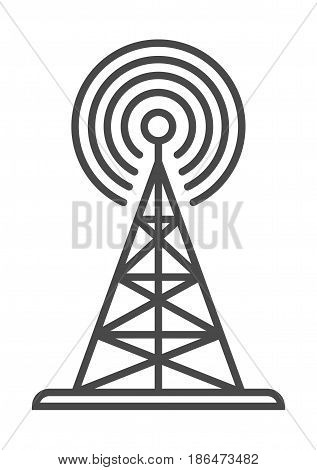 Radio broadcasting tower icon vector illustration isolated on white background. Global social media, network communication, mass media linear pictogram.