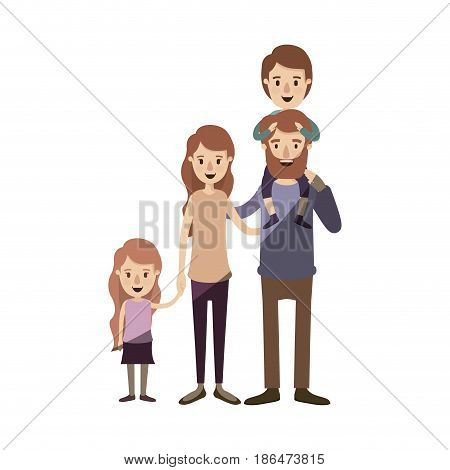 light color shading caricature big family parents with boy on his back and daugther taken hands vector illustration
