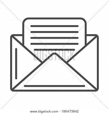 Mail envelope icon vector illustration isolated on white background. Global printing press, world news, post office linear pictogram.