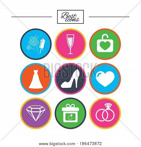 Wedding, engagement icons. Locker with heart, gift box and fireworks signs. Dress, heart and champagne glass symbols. Classic simple flat icons. Vector
