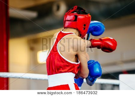 boxing fight young male boxers in ring