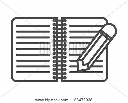 Notebook with pencil icon vector illustration isolated on white background. Breaking news, interview equipment, mass media linear pictogram.