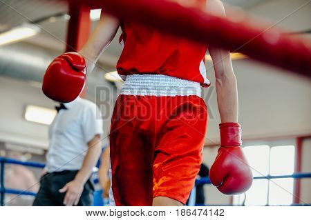 break between rounds male boxer goes corner ring