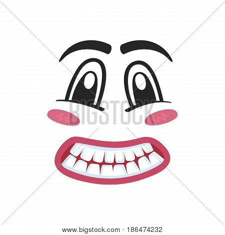 Fright emoji emoticon or smiley face character. Funny facial expression, cute comic face isolated vector illustration.