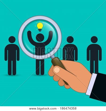 Search for talent with idea illustration. Looking for employees and job business human resource. Vector business concept.