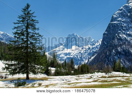 Majestic mountain landscape in the early springtime. Snow melting in the Alps Austria Tyrol