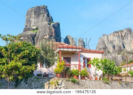 White houses of Kastraki village under the rocks of Meteora, Greece