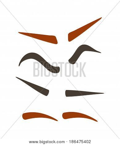 Comic brow expression set isolated vector illustration. Funny emoji emoticon, expression eyebrow construction cartoon icon on white.