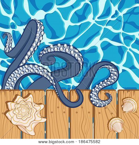 Marine summer background with water, shells and tentacles of an octopus. Vector illustration.