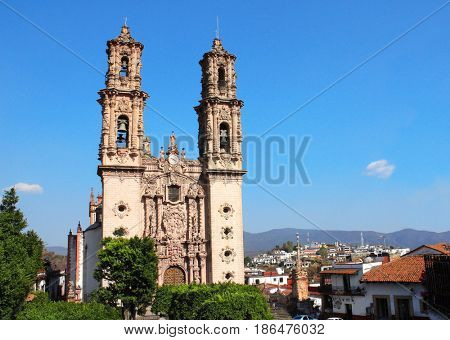 Facade of Santa Prisca Parish Church, Taxco de Alarcon city, state of Guerrero, Mexico