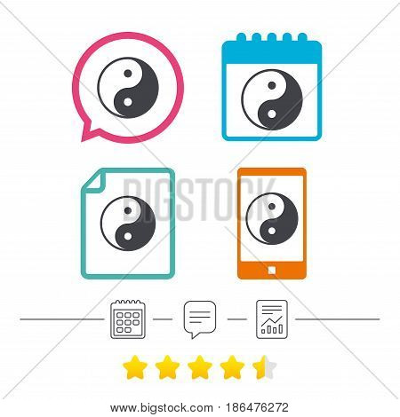 Ying yang sign icon. Harmony and balance symbol. Calendar, chat speech bubble and report linear icons. Star vote ranking. Vector