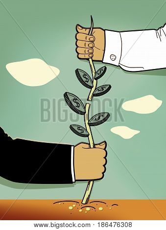 A man's hand in a white shirt pulls up and tears the shoot of a plant with leaves in the form of coins. A man's hand in a black suit pulls down part of the plant with leaves in the shape of coins