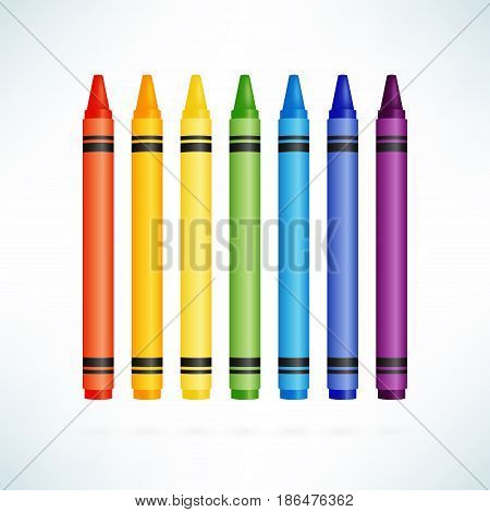 Crayons. Colorful wax pencils collection. Isolated vector illustration in realism style