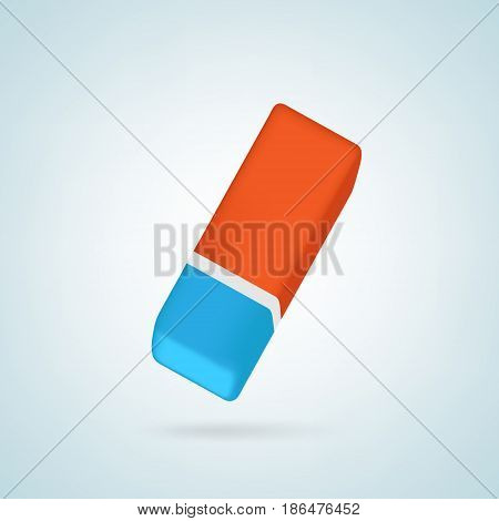 Eraser. Blue and orange colored rubber. Isolated vector illustration in realistic style