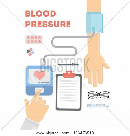 Blood pressure checking. Doctor checks people's health with equipment.
