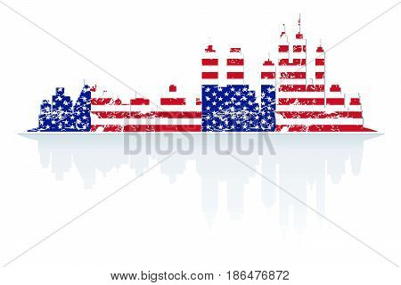 City skyline in colors of USA flag grunge style with shadow.