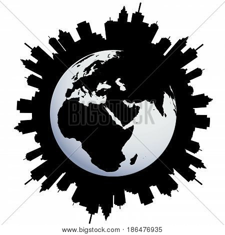 Abstract concept of Urban Earth globe urbanization