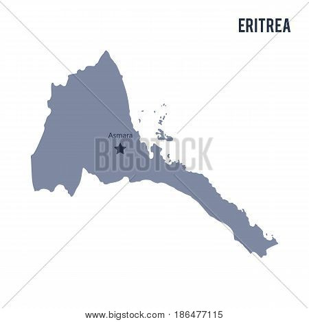 Vector map of Eritrea isolated on white background. Travel Vector Illustration.