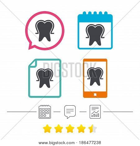 Tooth enamel protection sign icon. Dental toothpaste care symbol. Healthy teeth. Calendar, chat speech bubble and report linear icons. Star vote ranking. Vector